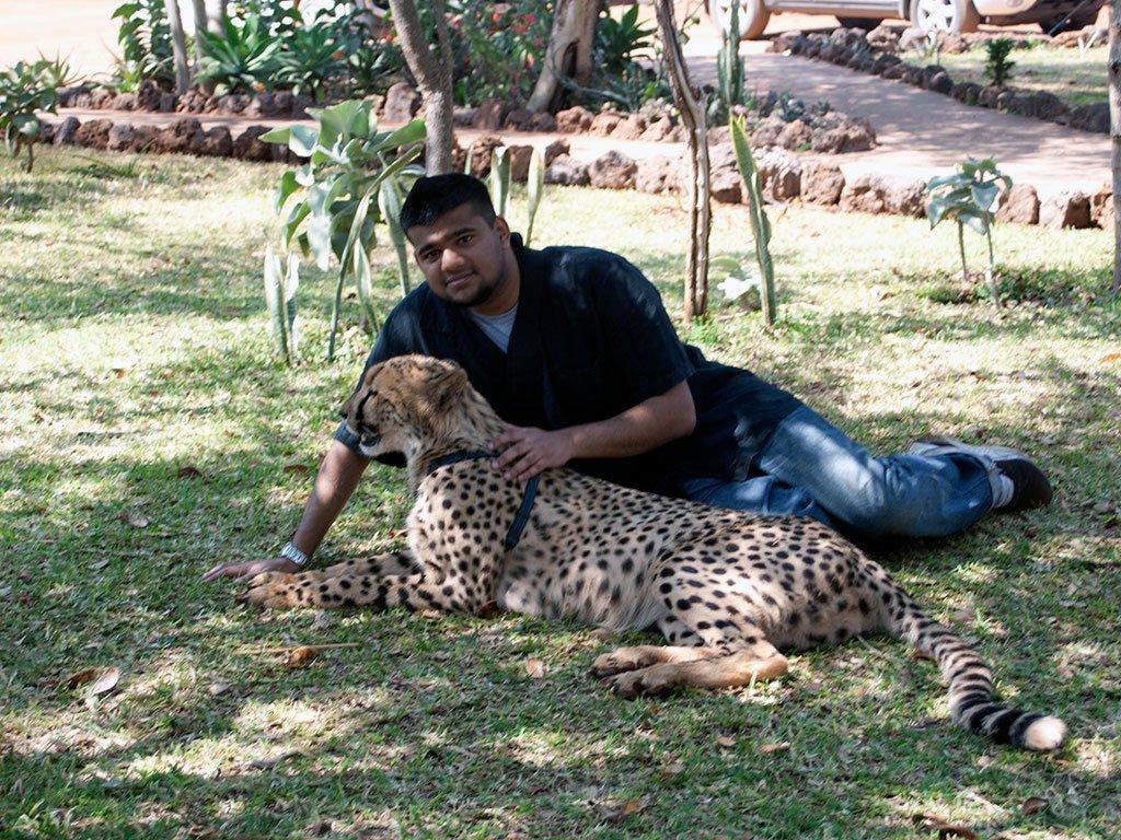 Man with cheetah